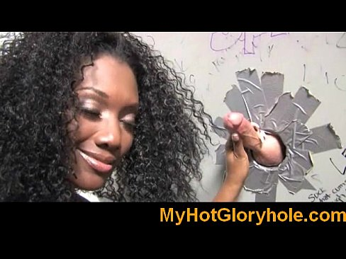 Ebony babe sucks white cock