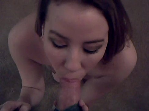 knees blowjob her coed Brunette on