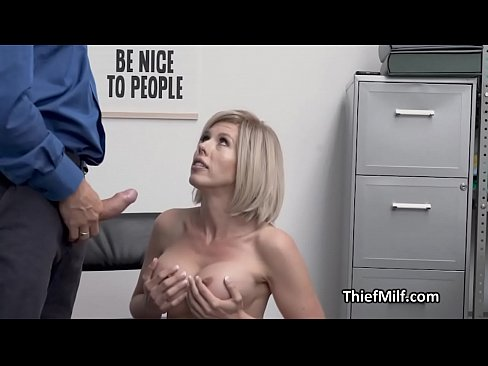 Officer drills big tit MILF hard at his office