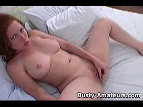 Busty amateur ginger masturbating