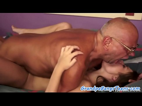 Teenage babe drilled deeply by horny grandpa