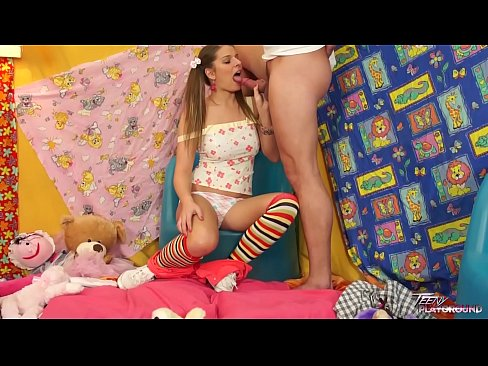 XXX 2020 Teenyplayground Pig tailed teen Mona Lee show her big tits to older stepbrother