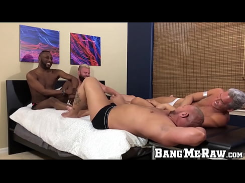 Four hunky homosexuals suck dick and raw fuck in foursome