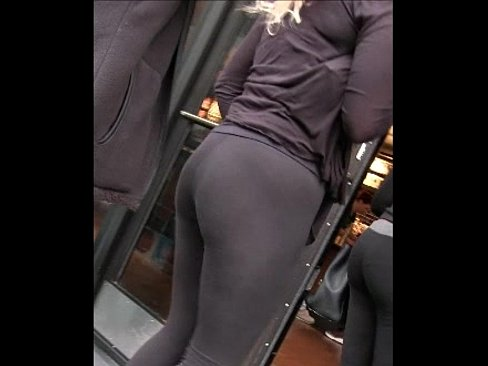 Candid milf ass shiny black leggings