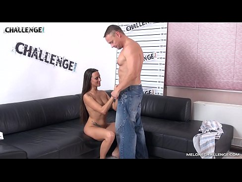 Big gravedigger challenge Mea Melone & fill her mouth with cum
