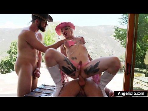 Ts cowgirl Lena Kelly threesome bareback