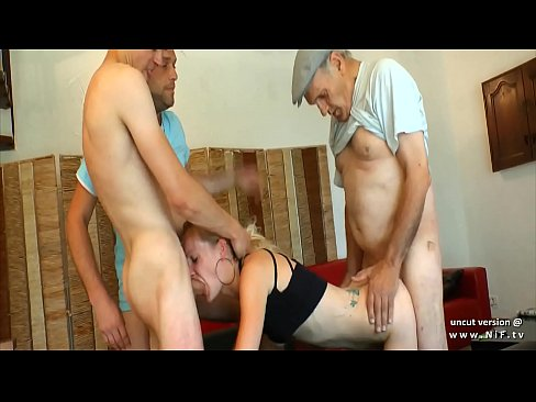 stunning young french blonde sodomized and cum covered in a gangbang with granpa