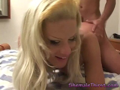Blonde horny TS anal
