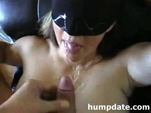 Blindfolded wife gets doggystyled and facial