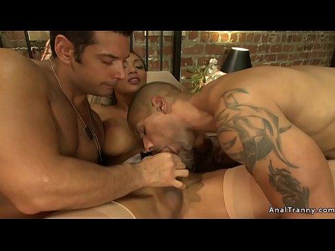 Busty TS anal fucks to men