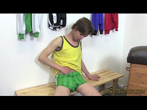 Uncut teen tugs big dick in locker room