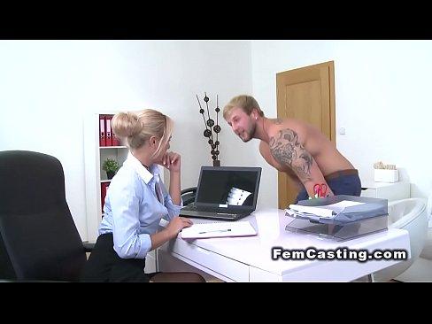 Hot blonde feminine agent wanks and fucks hard cock