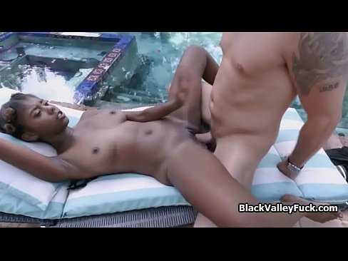 Perky Black Teen On White Cock By The Pool