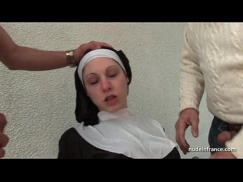 Bokep hot Young french nun fucked hard in threesome with Papy Voyeur