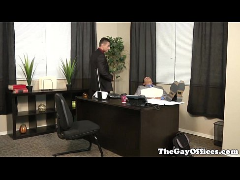 Muscular office boss pounding black ass