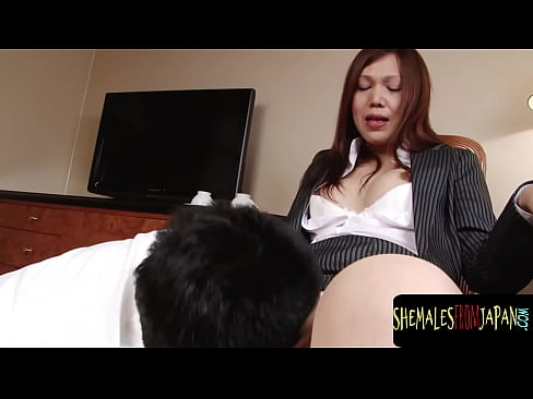 Cute ladyboy in pantyhose anally drilling guy