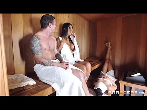 Movie watching spouse have sex in a sauna