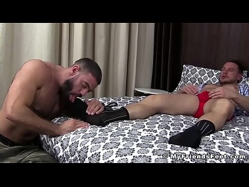 Business hunk tugging his dick while being feet worshiped's Thumb