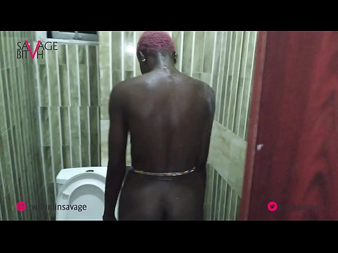 African goddess showers and shows off ass