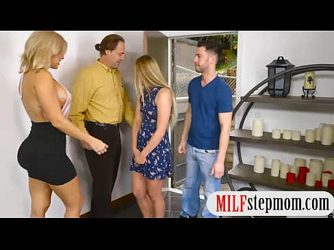 Stepmom And Teen Amazing Threeway Action In The Bedroom