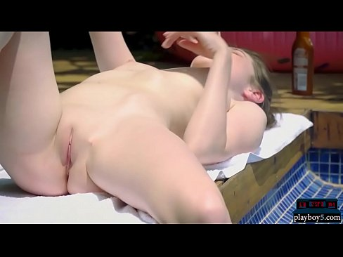 Hot bikini model Serena plays with mustard near a pool