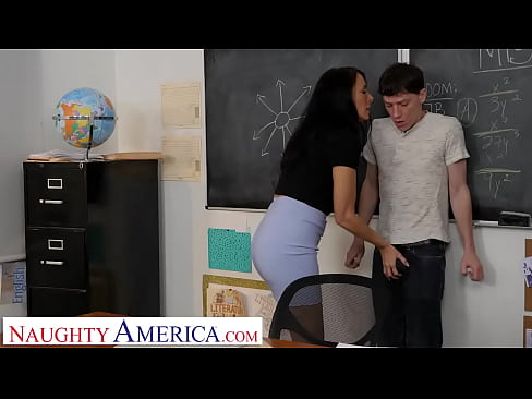 Naughty America - Sexy professor Reagan Foxx will grade Rion on how well he fucks!!!