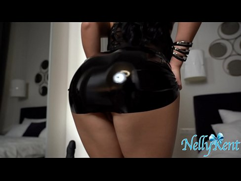 Kinky couture fetish leather with black dildo riding