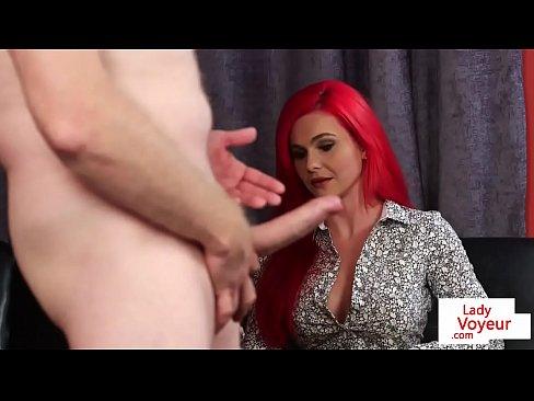 voyeur loving femdom instructs naked sub
