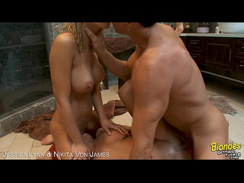 Blondes Jessica Lynn and Nikita Von James fucking a cock
