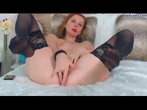 Stockings pussy Redhead