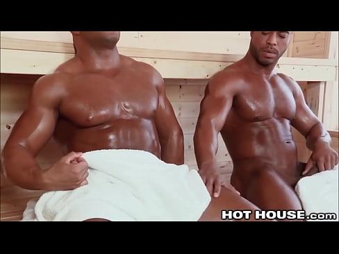 Big Sexy Beefcake Ebony Guys Fucking in the Steamroom