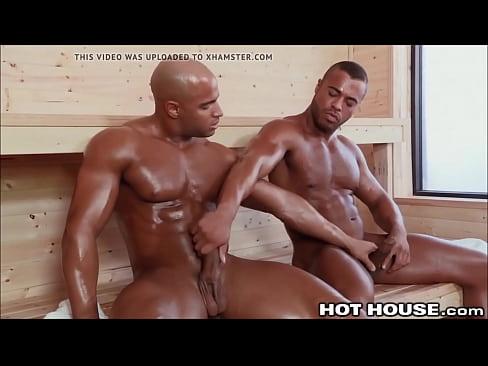 Gay stud fucking a big muscular beefcake