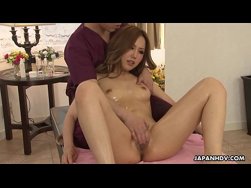 Japanese redhead gets an oily massage and a rough fucking