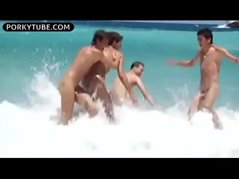 Beach group hard twinks bareback sex cumshots