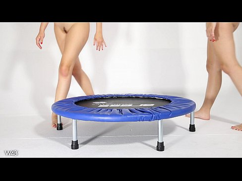 Trampoline Naked jumping women