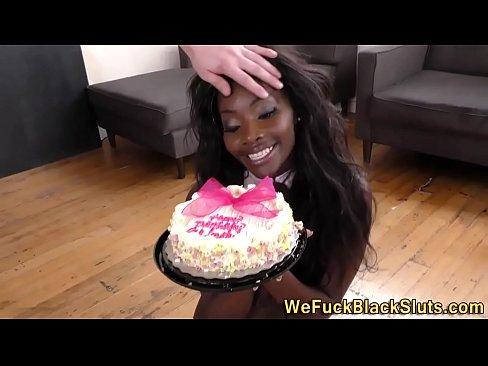 Ebony teen group fucked