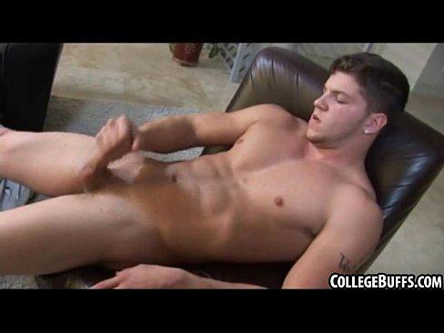 Muscle man masturbating