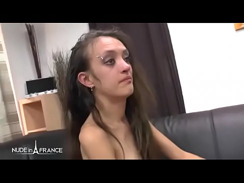 Skinny amateur french brunette hard ass pounded DP and face cum covered's Thumb