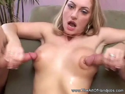 Wife giving double handjob