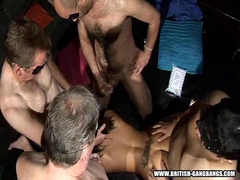 doggy gang - british amateur girls gangbang swingers party
