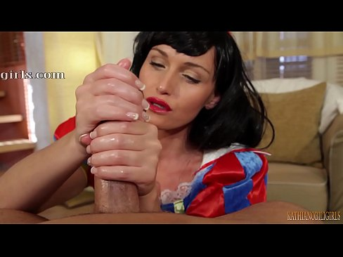 I'll eat all your warm seed...Snow White oily HANDJOB on big dick! POV with Kathia Nobili - PART 2