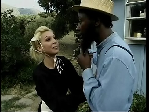 Two Amish studs have interracial sex with brunette and fuck her ass