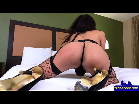 Glamorous trans babe shaking her round booty