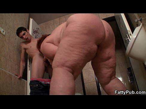Biggest tits ever fatty fucking in the restroom