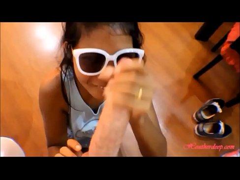 HD tiny thai teen oriental teen heather deep give deep throat and get huge facial on glasses 2 new