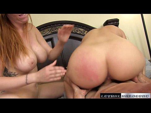 Pornstars Lauren Philips and Carmen Valentina bounce their HUGE ass on a dick