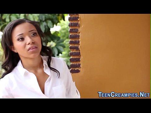 Ebony teen cum filled