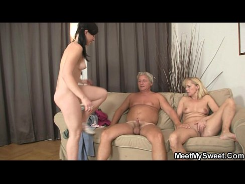 gf rides her bfs dad cock after lezzie with mom