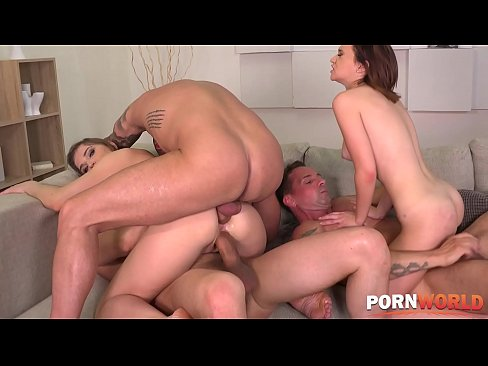 Gina Ferocious and Nicole Pearl ass fucked balls deep in group sex orgy