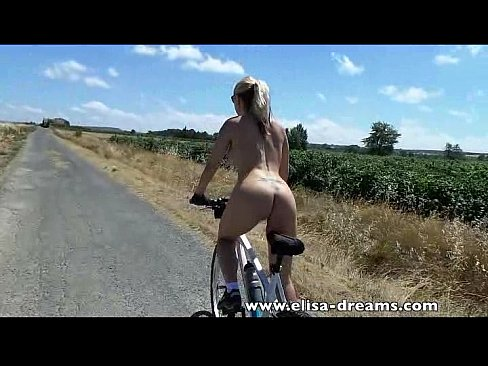 On chick bicycle naked a
